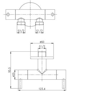 WC-Handbrause mit Doppelventil und Spülkasten-Wasseranschluss, Chrom