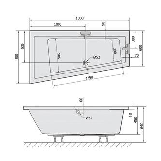 ANDRA L SLIM asymmetrische Badewanne 180x90x45cm, weiss