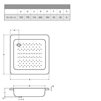 Emaille-Duschwanne, Quadrat, 70x70x12cm, weiß