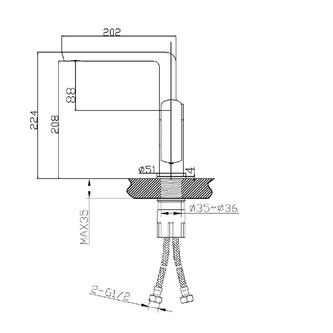 MIXONA Küchen / Waschtischarmatur, 210mm,Chrom