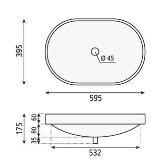 LIMA Waschtisch 59,5x17,5x3,9,5 cm, weiß