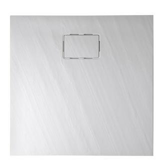 ATIKA Duschwanne aus Mineralguß 90x90x3,5 Rechteck, weiß, Steinoptik