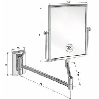Kosmetikspiegel zum Einhängen ohne Beleuchtung 155x200mm, Chrom