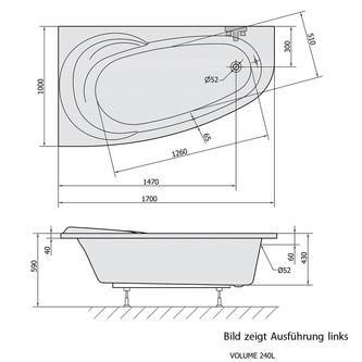 NAOS 170 L Badewanne mit Füßen 170x100x43cm links, weiß