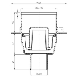 Bodeneinlauf 105x105 Ablauf senkrecht, 50mm, Edelstahlabdeckung