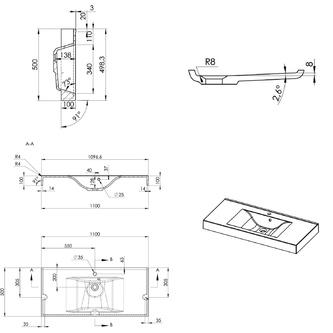 FLAVIA Gussmarmor-Waschtisch 110x50cm, weiß