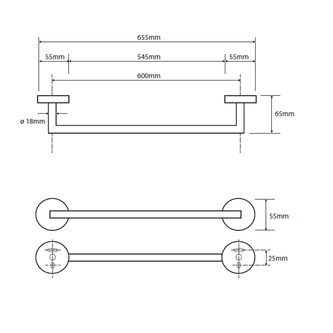 X-ROUND  Handtuchhalter 650mm, Chrom