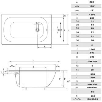 Emaille-Sitzwanne Rechteck 120x70x38cm, weiß