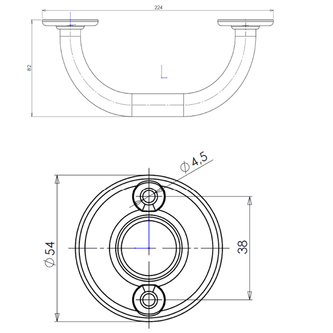 Haltegriff für Badewanne, 20cm, weiß