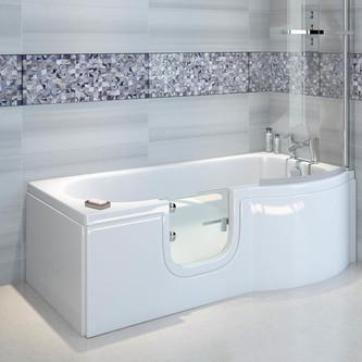 SKALI Badewanne mit Tür/Seniorenbadewanne 167,5x85/75cm Rechts-Komplett-Set