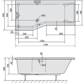 VERSYS L asymmetrische Badewanne 170x84x70x47cm, links, weiß