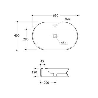 RING Keramik-Waschtisch 65x12x40cm, zum Aufsetzen