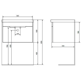 ELLA Unterschrank 56,5x39x43cm, weiß
