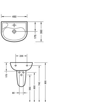 Keramik-Waschtisch 45x35cm (3019)
