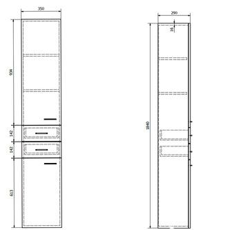 ZOJA/KERAMIA FRESH Hochschrank mit Wäschekorb 34x184x29cm, links, weiß