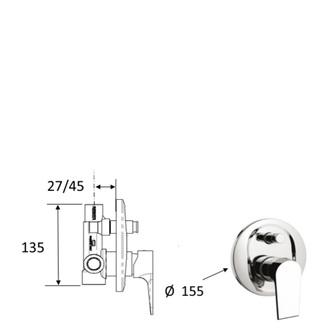 KAI Unterputz-Duscharmatur , 2 Wege, Chrom