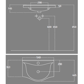 ZARA 55 Waschtisch 54x44,5cm