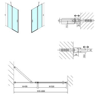 ZOOM LINE Duschtür 1000mm, Klarglas
