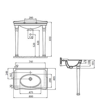 ANTIK Keramik-Waschtisch 80x50 cm