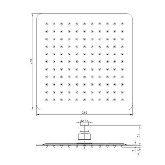 SLIM Kopfbrause, Quadrat 250x250mm, polierter Edelstahl