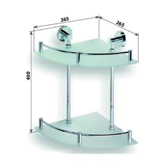 X-ROUND  E Glasablage 2-Fach, mit Reling, 265x400x265mm, Chrom