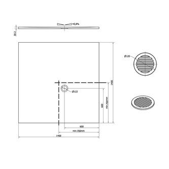 FLEXIA Gussmarmor-Duschwanne 140x140x3cm