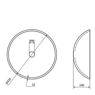 SUN Glaswaschtisch, Durchmesser 42 cm