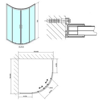 EASY LINE Duschabtrennung Viertelkreis 800x800mm, L/R, Klarglas