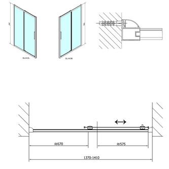 LUCIS LINE Duschtür 1400mm, Klarglas