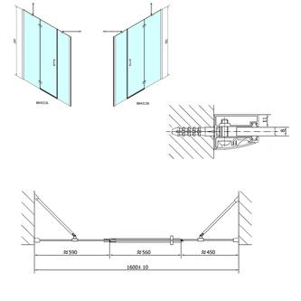 VITRA LINE Duschtür 1600mm, rechts, Klarglas