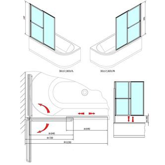 OLBIA Duschabtrennung 1230mm, Rahmen silber, Klarglas