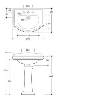 RETRO Keramik-Waschtisch 69x52cm, 3 Armaturlöcher