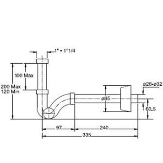 ROYAL FAMILY Bidet-Siphon 1'1/4, Abfluss 32mm, Chrom