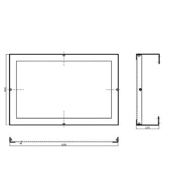 Spiegel, kippbar, 40x60cm, Edelstahl