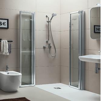 Quadrat-Duschkabine HELP mit Falttüren, Größe nach Wahl, Acryl-oder Klarglas