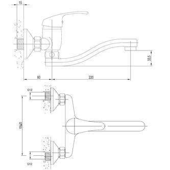 AQUALINE 35 Wandarmatur, Abstand 150mm, Einlauf 220mm, Chrom