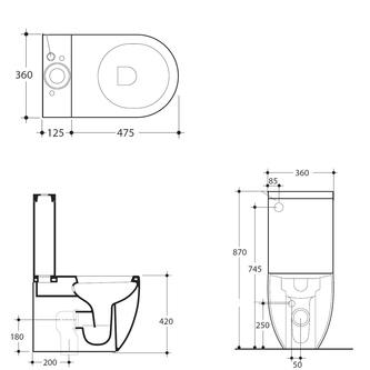 FLO Kombi-WC 36x43x60cm, Abgang senkrecht/waagerecht