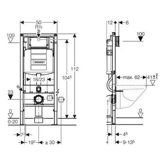 GEBERIT DUOFIX Wand-WC Element mit Sigma Spülkasten 12 cm, für Trockenbau