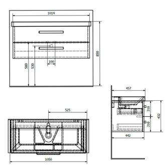 THEIA Unterschrank 101,4x43,2x44,2cm, 2x Schublade, weiß