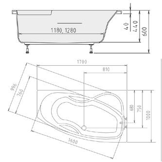MAMBA 170 R Badewanne mit Füßen 170x100x44cm, rechts, weiß