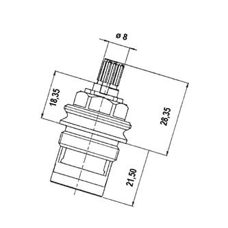 Keramik-Oberteil 1/2', 8/20, links, Axia, Airtech, Epoca