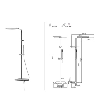 RHAPSODY Thermostat-Duschsäule mit Ablage, Chrom