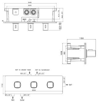 NOTOS Thermostat-Dusch-Armatur , 3 Wege, Chrom