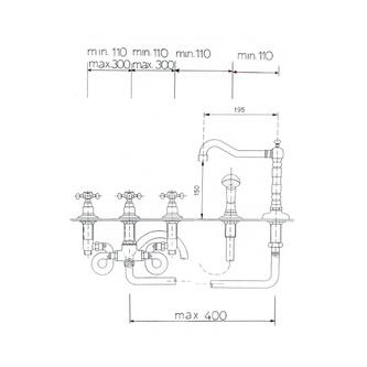 ANTEA 5-Loch - Wannenarmatur mit Retro-Einlauf, Chrom/gold