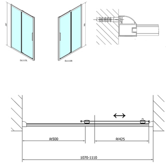 LUCIS LINE Duschtür 1100mm, Klarglas