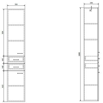 ZOJA/KERAMIA FRESH Hochschrank 35x184x29cm, links, mali wenge