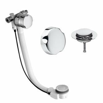 Badewannenablaufgarnitur mit Einlauf,Länge 600mm, Chrom