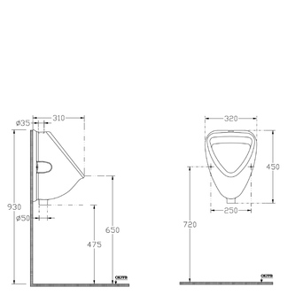 Urinal 45x31cm, Zulauf von oben