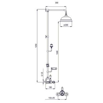 SASSARI Thermostat-Duschsäule mit Seifenschale Höhe 1250mm, bronze