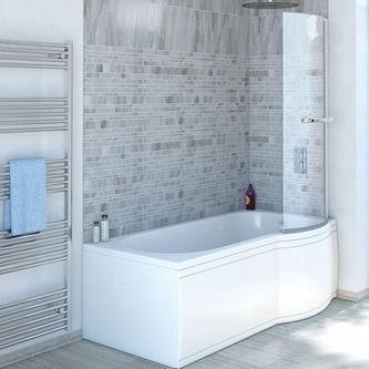 SKALI Duschabtrennung mit Handtuchhalter, H. 140 cm, 6mm Glas